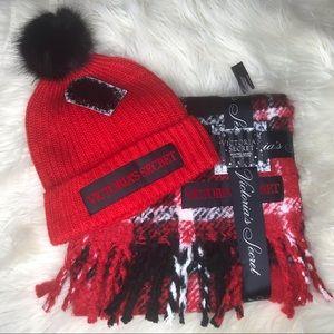 Victoria Secret SET of 2  Hat and Scarf Red/Black
